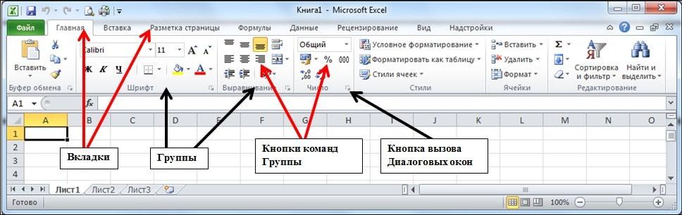 Интерфейс Excel