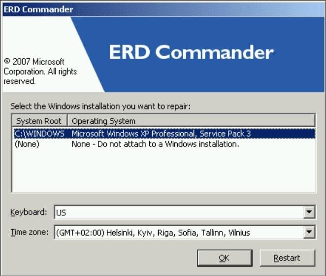 Изображение программы ERD Commander