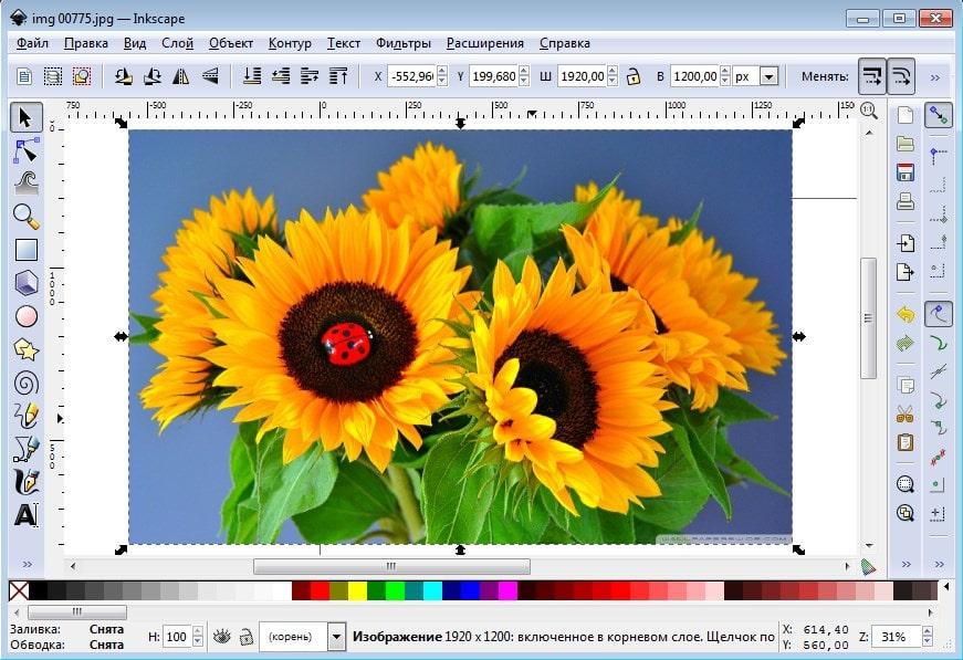 Интерфейс графического редактора Inkscape