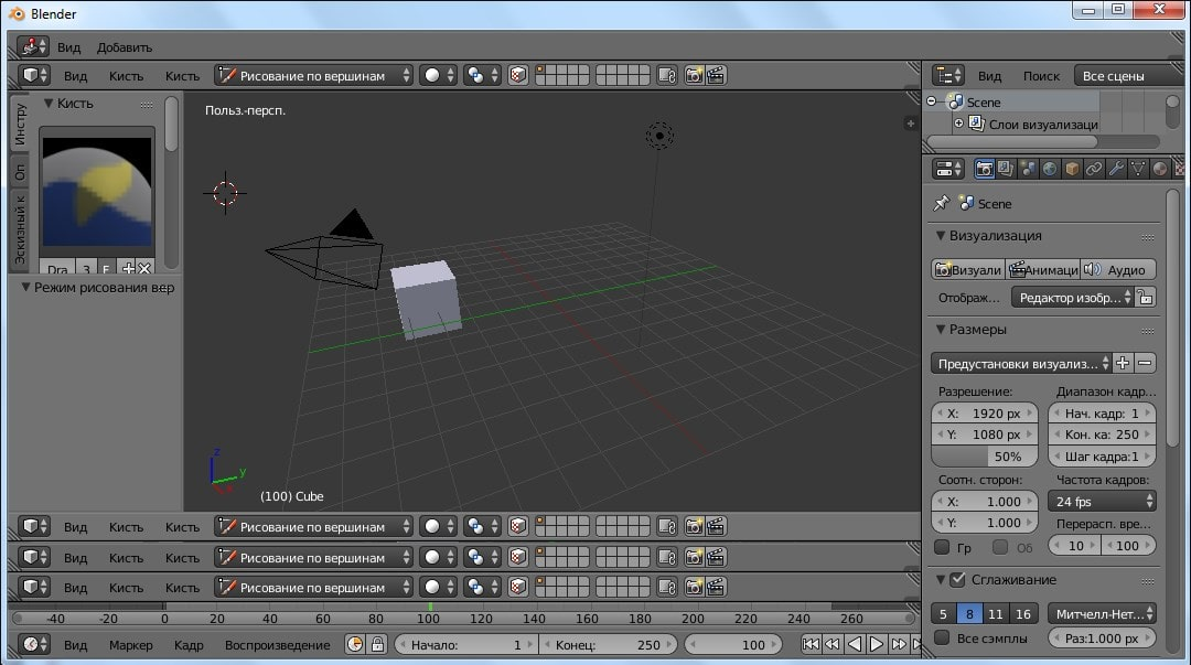 Интерфейс программы Blender 3
