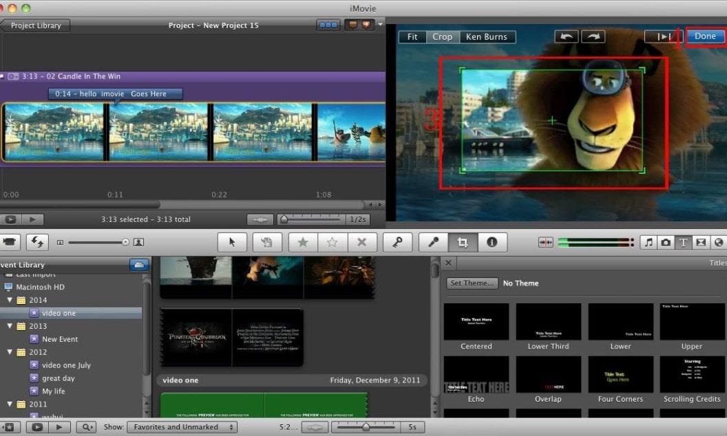 Интерфейс iMovie