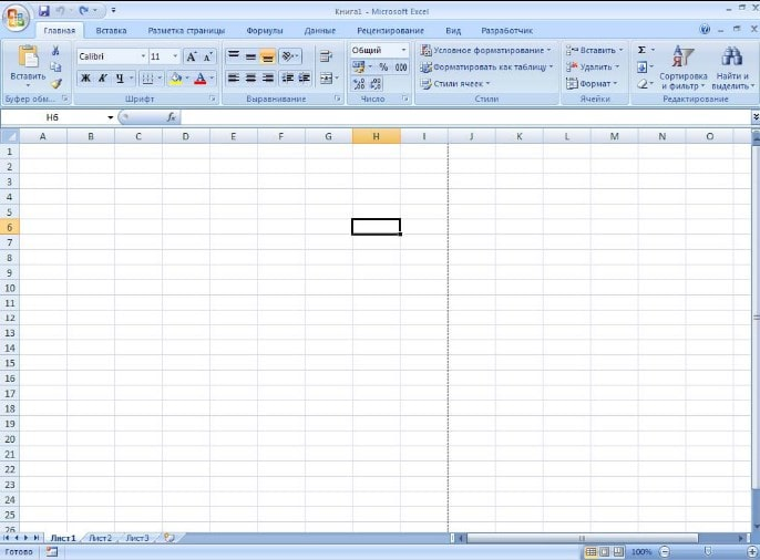 Интерфейс приложения Excel 2007