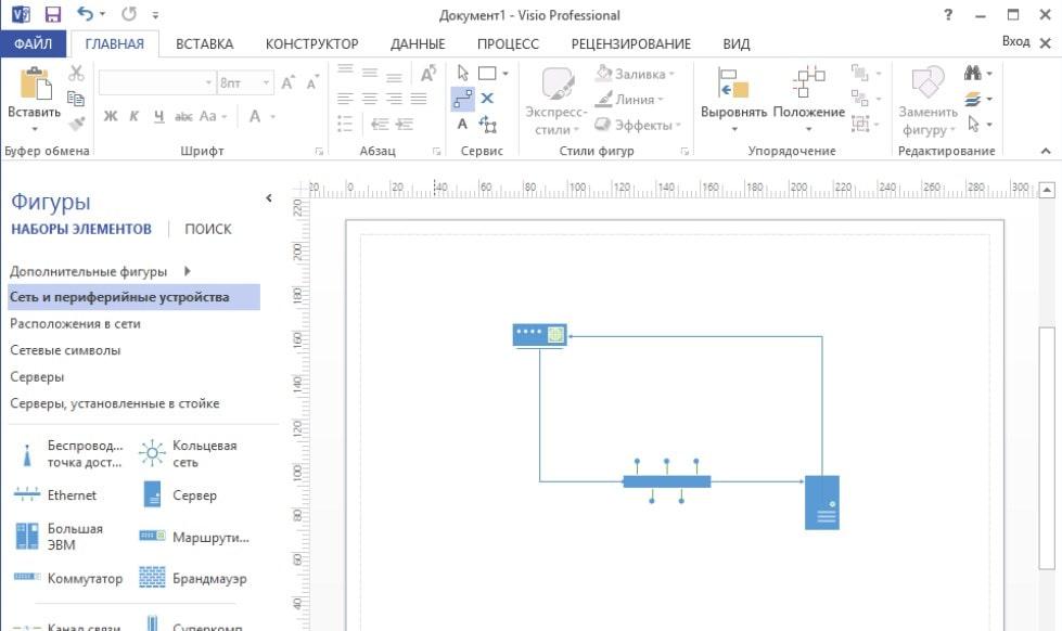 Интерфейс Microsoft Visio