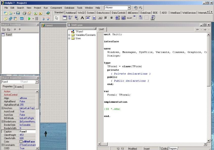 Работа в программе Delphi 7
