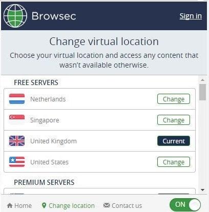 Выбор геолокации в Browsec VPN