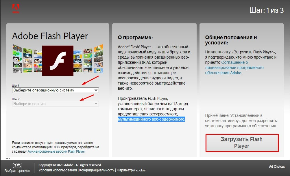 Процесс установки Adobe Flash Player для Windows 10