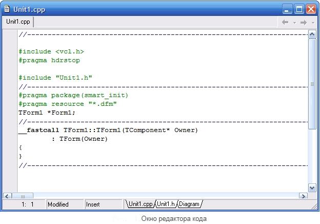 Редактор кода в программе C++ Builder 6
