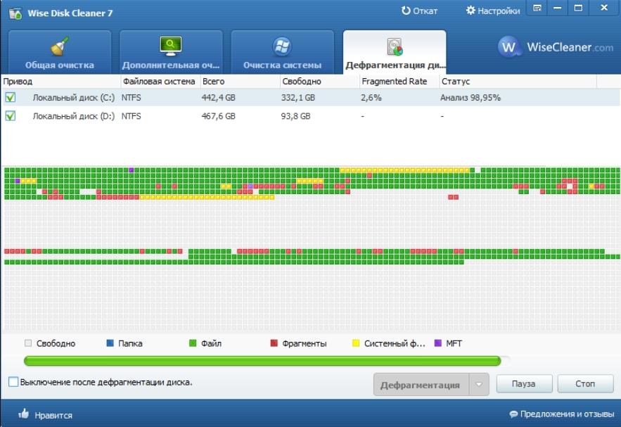 Дефрагментация диска в программе Wise Disk Cleaner