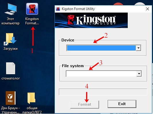 Процесс работы в программе Kingston Format Utility