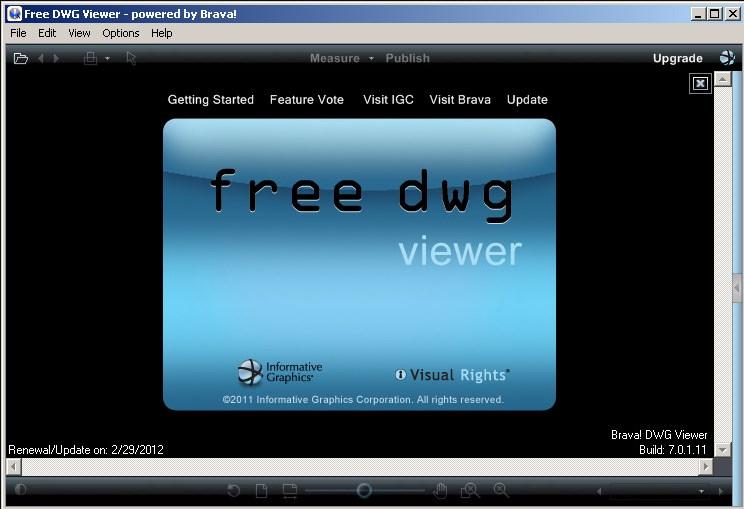 Интерфейс программного обеспечения Free DWG Viewer
