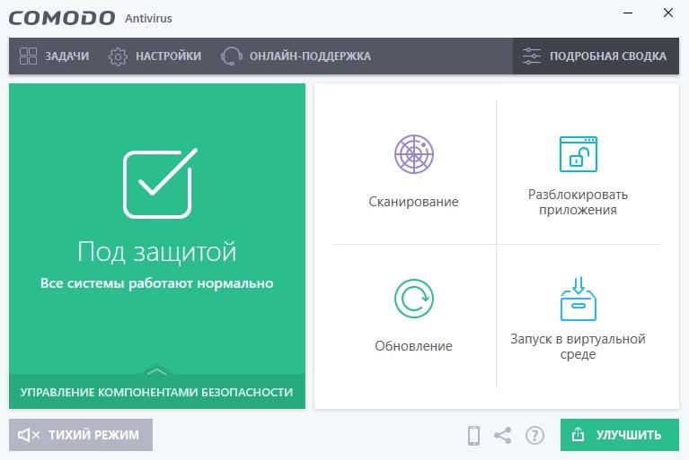 Интерфейс Комодо Антивирус