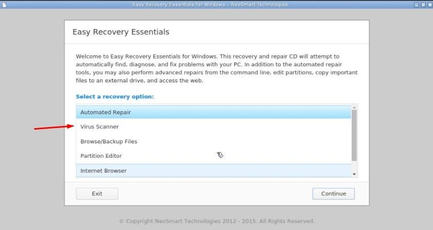 Антивирусный сканер в приложении EasyRecovery