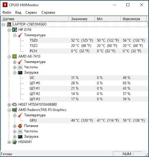 Информация с датчиков в приложении HWMonitor