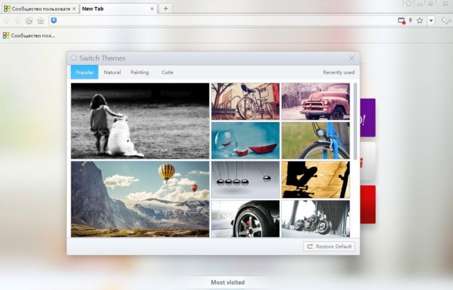Дизайнерские темы в 360 Browser