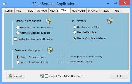 Интерфейс программы с кодеками для видео и аудио