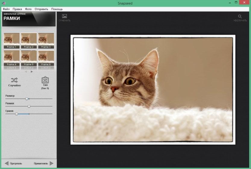 Эффекты и фильтры в Snapseed для компьютера
