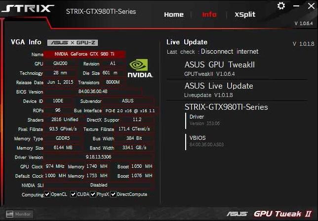Информация о графическом адаптере в GPU Tweak 2