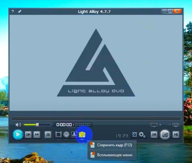 Снимок экрана в Light Alloy