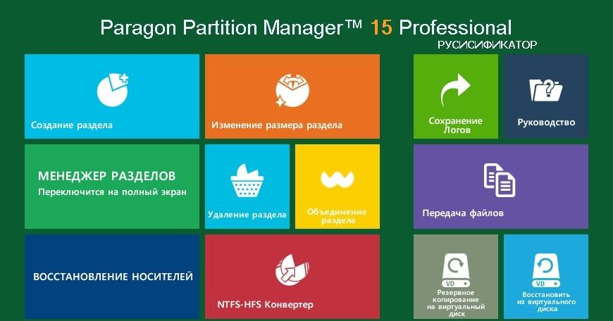Изображение утилиты Paragon Partition Manager